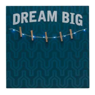 "Melannco LED ""Dream Big"" Photo Clip Bulletin Board"