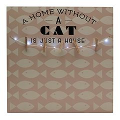 Melannco LED 'A Home Without A Cat' Photo Clip Bulletin Board