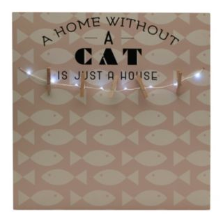 """Melannco LED """"A Home Without A Cat"""" Photo Clip Bulletin Board"""