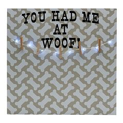 Melannco LED 'Had Me At Woof' Photo Clip Bulletin Board