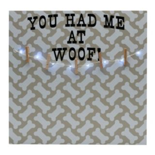 "Melannco LED ""Had Me At Woof"" Photo Clip Bulletin Board"