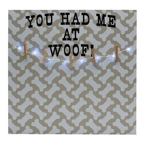 "Melannco LED ""Had Me At Woof"" Photo Clip Bulletin Board"