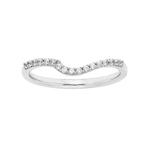 14k White Gold 1/8 Carat T.W. Diamond Shadow Wedding Ring