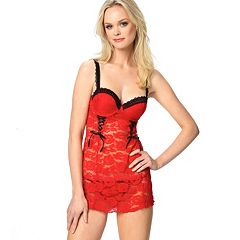 Jezebel Rachel Polka-Dot Lace Chemise and G-String Lingerie Set 999910
