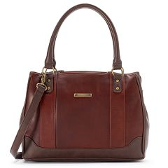 Megan Convertible Leather Satchel Brown