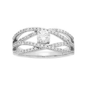 14k White Gold 7/8 Carat T.W. IGL Certified Diamond Openwork Engagement Ring