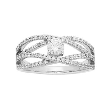 14k White Gold 7/8 Carat T.W. IGL Certified Diamond Openwork Engagement Ring