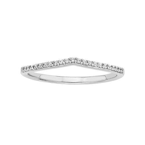 14k White Gold 1/10 Carat T.W. Diamond Shadow Wedding Ring