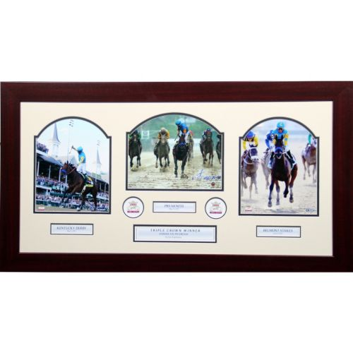 Steiner Sports Victor Espinoza Signed Triple Crown 16 x 32 Framed Collage