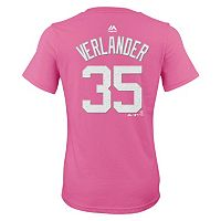 Girls 7-16 Majestic Detroit Tigers Justin Verlander Player Name and Number Tee
