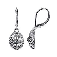 1928 Jet Stone Openwork Oval Drop Earrings