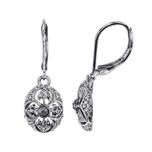 1928 Jet Stone Openwork Oval Drop Earrings