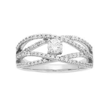 14k White Gold 5/8 Carat T.W. IGL Certified Diamond Openwork Engagement Ring