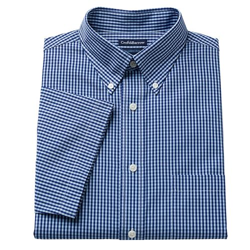 f247ea2f0 Men's Croft & Barrow® Classic-Fit Pinpoint Oxford Checked Button-Down  Collar Dress Shirt