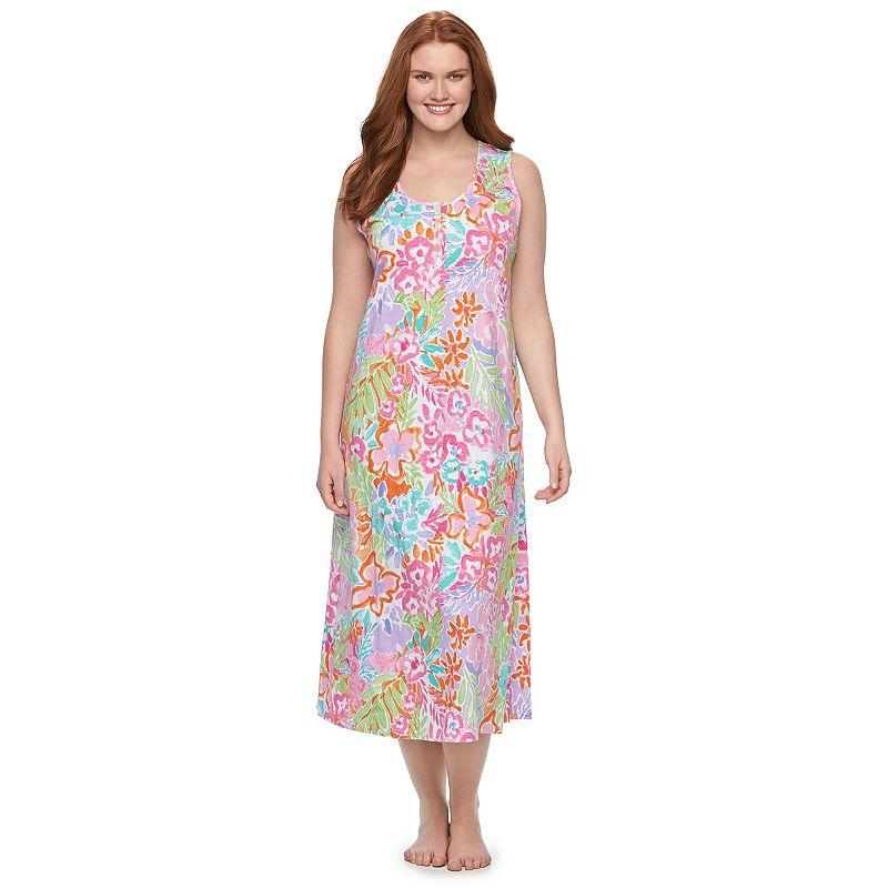 Plus Size Chaps Pajamas: Printed Maxi Nightgown