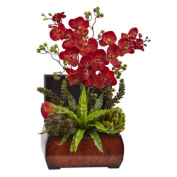 nearly natural Autumn Orchid & Succulent Artificial Flowers