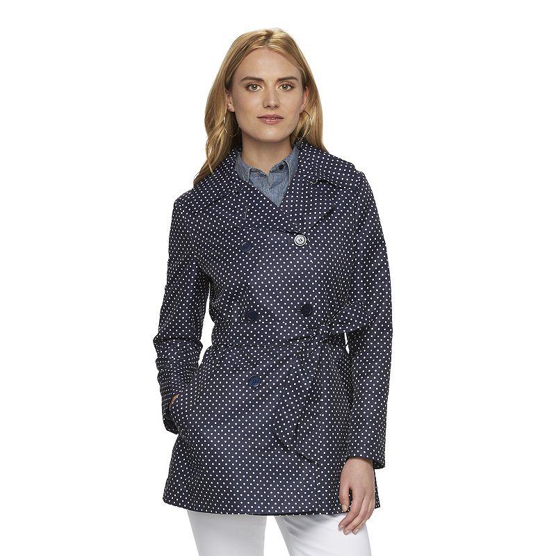 Women's Chaps Polka-Dot Trench Coat