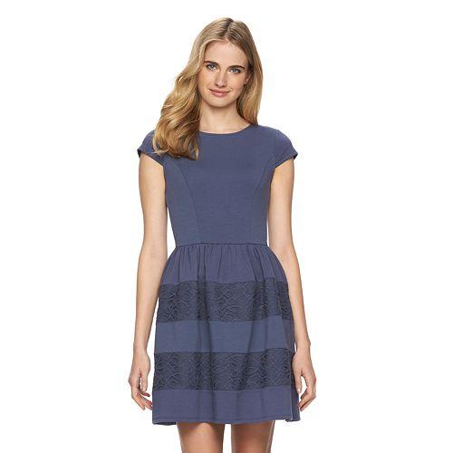 Women's LC Lauren Conrad Striped Lace Fit & Flare Dress