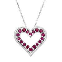 14k White Gold Ruby Heart Pendant Necklace