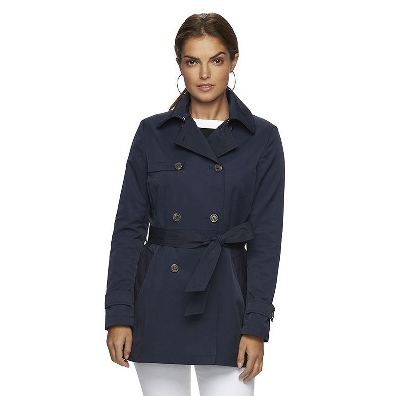 Women's Chaps Double-Breasted Rain Jacket