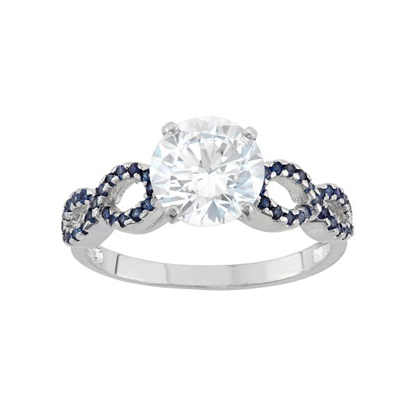 10k White Gold Cubic Zirconia Lab Created Sapphire Engagement Ring