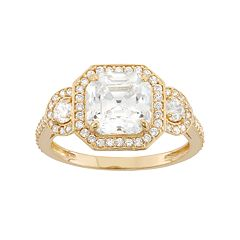 10k Gold Cubic Zirconia Halo Engagement Ring