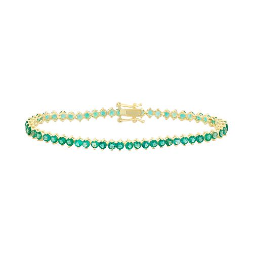 14k Gold Over Silver Lab-Created Emerald Tennis Bracelet