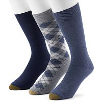 Men's GOLDTOE Casual Fashion 3-Pack Argyle Crew Socks