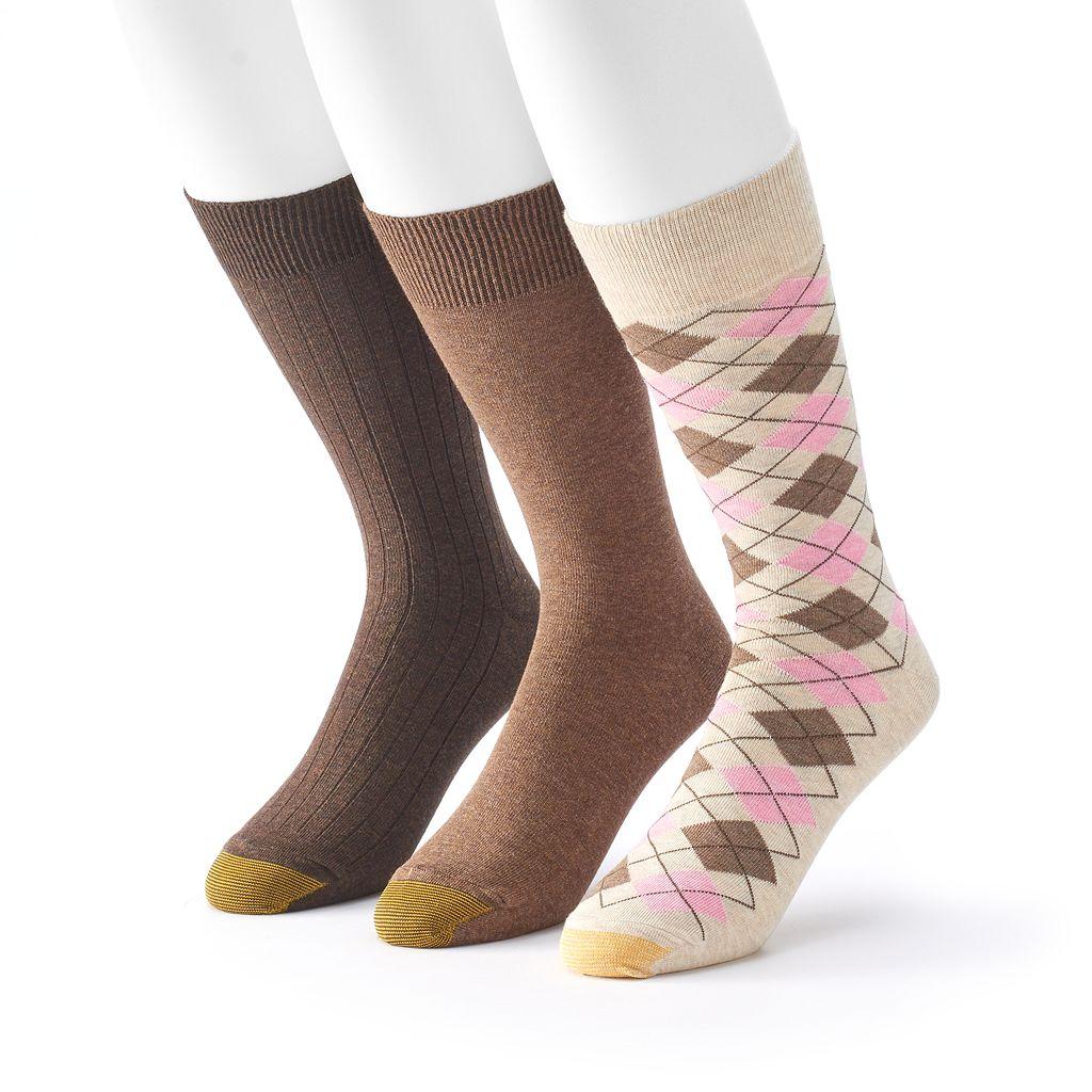 Men's GOLDTOE Casual Fashion 3-Pack Argyle Crew Socks