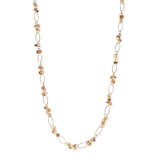 Long Disc Cluster Oval Link Necklace