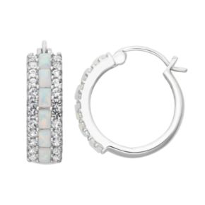 Sterling Silver Lab-Created Opal & Lab-Created White Sapphire Hoop Earrings