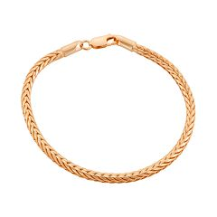 14k Gold Over Silver Foxtail Chain Bracelet - 7.5 in