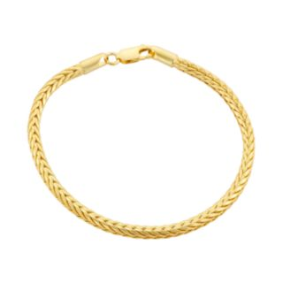 14k Gold Over Silver Foxtail Chain Bracelet - 7.5 in.
