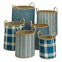 Elements Blue Palm Leaf 6-piece Woven Basket Set