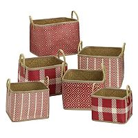 Elements Palm Leaf 6 pc Woven Basket Set