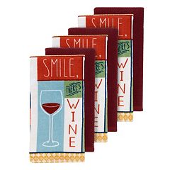The Big One® 'Smile, There's Wine' Kitchen Towels - 6-pk.