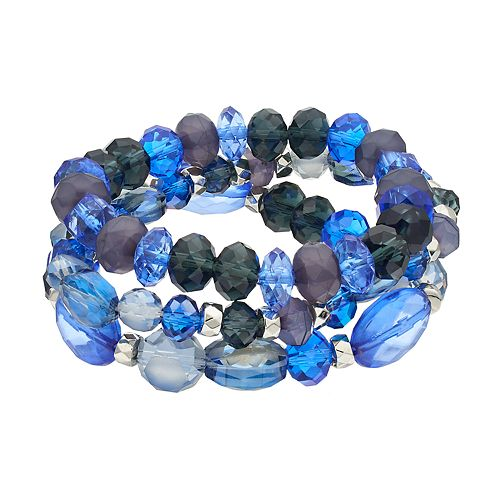 Blue Beaded Stretch Bracelet Set