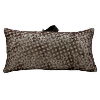 Mina Victory Bordeaux Geo Leather Throw Pillow