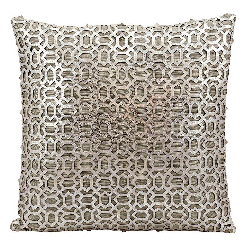 Mina Victory Bias Lazer Cut Silver Leather Throw Pillow