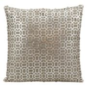 Mina Victory Bias Lazer Cut Silver Leather Throw Pillow
