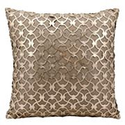 Mina Victory Romantic Lazer Cut Leather Throw Pillow