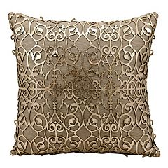 Mina Victory Saray Lazer Cut Leather Throw Pillow