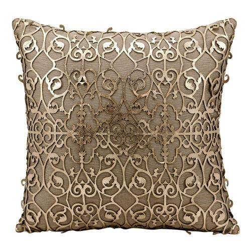 Mina Victory Saray Lazer Cut Leather Throw Pillow