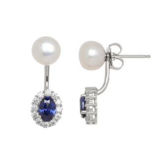 Freshwater by HONORA Freshwater Cultured Pearl & Cubic Zirconia Halo Ear Jacket Earrings