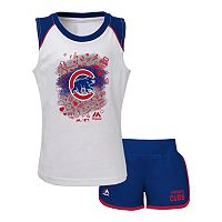 Girls 4-6x Majestic Chicago Cubs Doodle Time Tee & Shorts Set