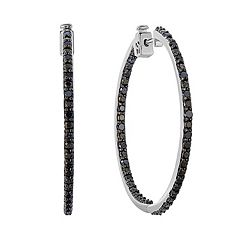 Sterling Silver 1 Carat T.W. Black Diamond Inside-Out Hoop Earrings