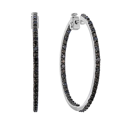 Sterling Silver 1 Carat T.W. Black Diamond Inside-Out Hoop Earrings