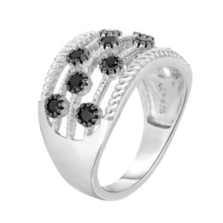 Sterling Silver 1/2 Carat T.W. Black Diamond Multirow Ring