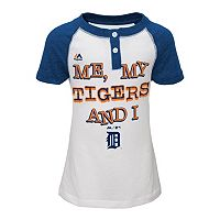 Girls 4-6x Majestic Detroit Tigers My Team & I Henley Tee