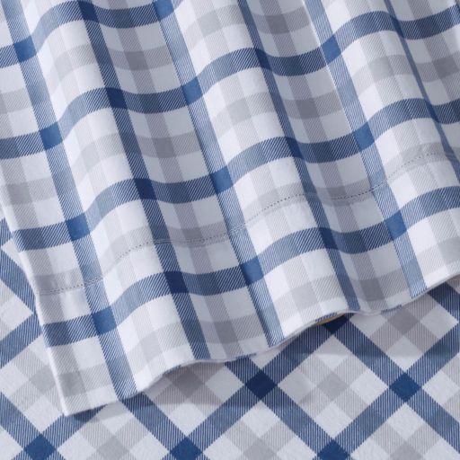 Micro Plaid Printed Flannel Sheet Set